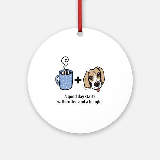 beagle_coffeeforlight Round Ornament