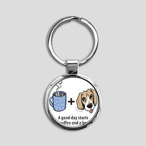 beagle_coffeeforlight Round Keychain