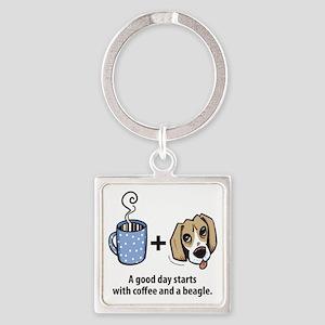 beagle_coffeeforlight Square Keychain