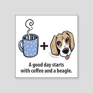 """beagle_coffeeforlight Square Sticker 3"""" x 3"""""""