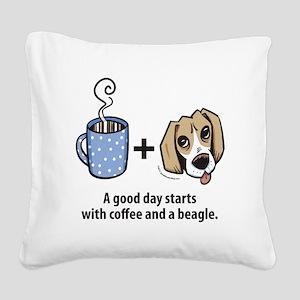 beagle_coffeeforlight Square Canvas Pillow