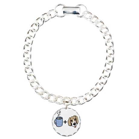 beagle_coffee_fordark Charm Bracelet, One Charm