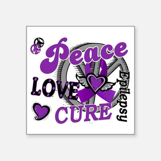 """D Peace Love Cure 2 Epileps Square Sticker 3"""" x 3"""""""