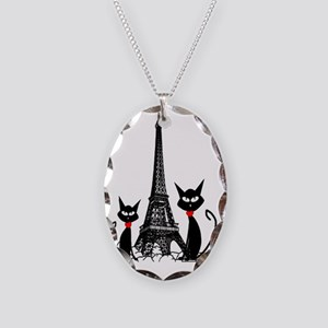 eiffel tower cats 3 FINISHED Necklace Oval Charm
