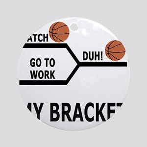 March Madness Basketball Funny T-Sh Round Ornament