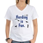 Herding Is Fun JAMD Women's V-Neck T-Shirt