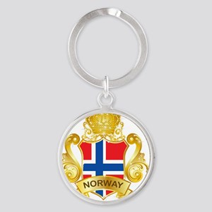 Gold1Norway1 Round Keychain