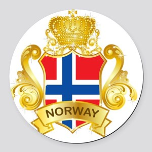 Gold1Norway1 Round Car Magnet