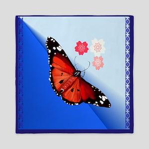 Hot Big Bright Butterfly And Cherry Bl Queen Duvet