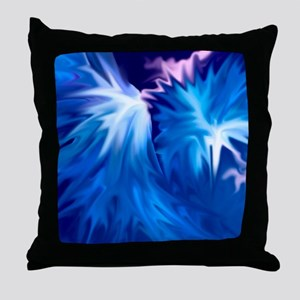 abstract flowers blue Throw Pillow