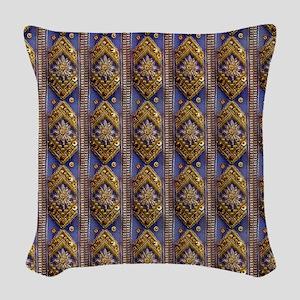 golddiamondsequinsflipflops Woven Throw Pillow