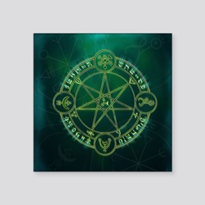 "Spell_Symbols_green_BOX Square Sticker 3"" x 3"""