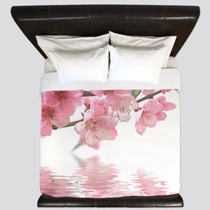 Flowers Water Reflection King Duvet