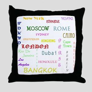 Famous Cities Throw Pillow