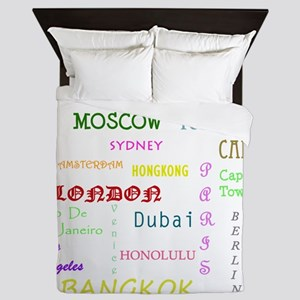 Famous Cities Queen Duvet