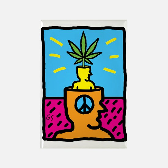 Weed Head Rectangle Magnet