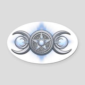 Triple Goddess - Moonstone - trans Oval Car Magnet