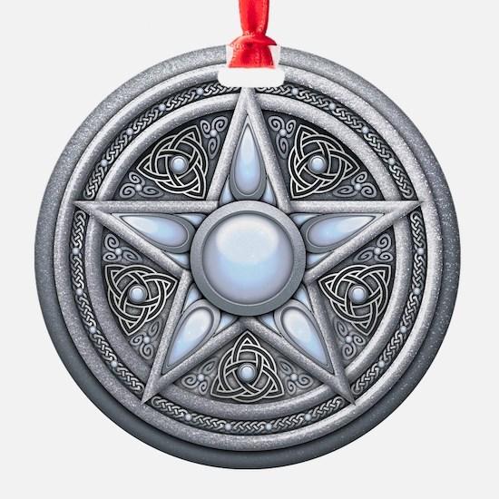 Pentacle - silver moonstone - trans Ornament