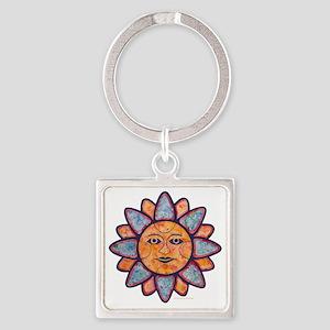 Sun Face Square Keychain