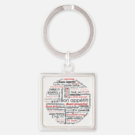Bon appetit in many languages - Re Square Keychain