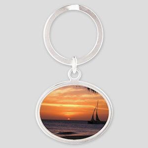 Aruba Sunset Sail-10 Oval Keychain