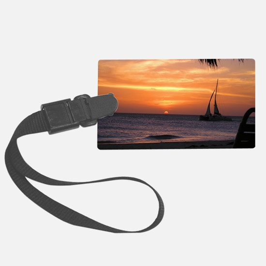 Aruba Sunset Sail-10 Large Luggage Tag