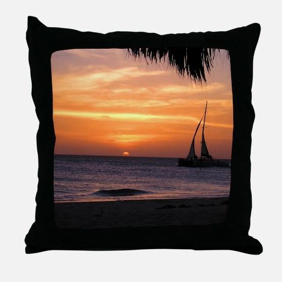 Aruba Sunset Sail-10 Throw Pillow