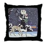 Borzoi Holiday Throw Pillow