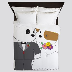 Cute Puppy Marriage Queen Duvet