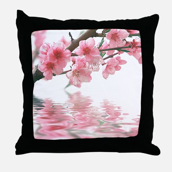 Flowers Water Reflection Throw Pillow