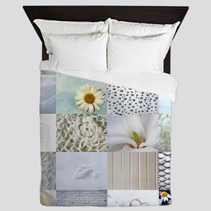 White Photography Collage Queen Duvet
