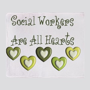 Social Workers Are all hearts Throw Blanket