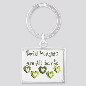 Social Workers Are all hearts Landscape Keychain