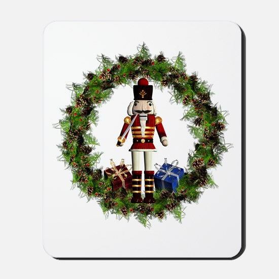 Red Nutcracker Wreath Mousepad