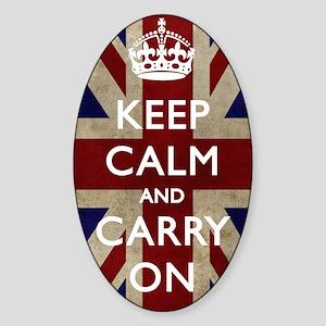large_KEEP_CALM_UNION_JACK Sticker (Oval)