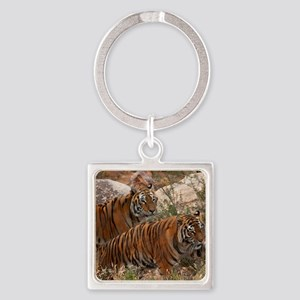 (4) Tigers Two Walking Square Keychain