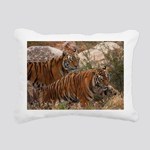 (4) Tigers Two Walking Rectangular Canvas Pillow