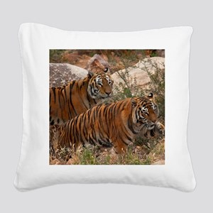 (4) Tigers Two Walking Square Canvas Pillow