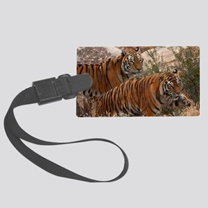(4) Tigers Two Walking Large Luggage Tag