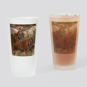 (4) Tigers Two Walking Drinking Glass