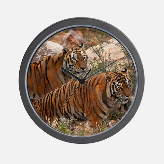 (4) Tigers Two Walking Wall Clock