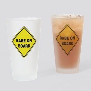 Babe On Board Drinking Glass