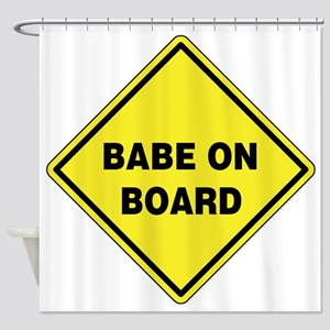 Babe On Board Shower Curtain