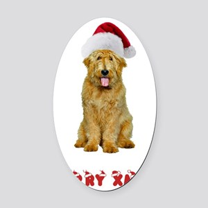 Goldendoodle Christmas Oval Car Magnet