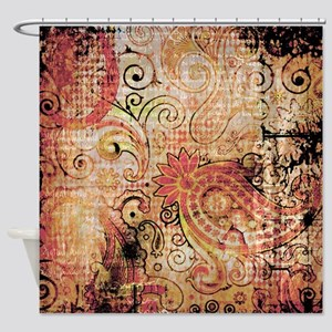 paisley grunge montage Shower Curtain