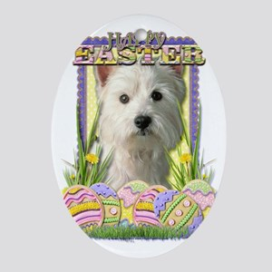 EasterEggCookiesWestHighlandTerrierC Oval Ornament