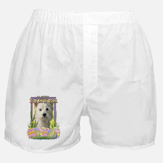EasterEggCookiesWestHighlandTerrierCP Boxer Shorts