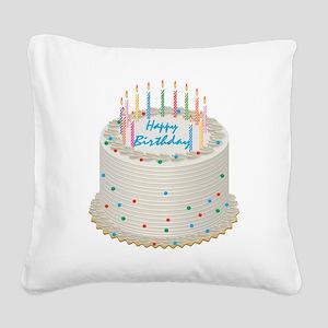 Happy Birthday Cake Square Canvas Pillow