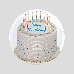 "Happy Birthday Cake 3.5"" Button"