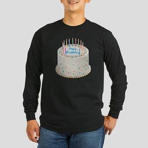 Happy Birthday Cake Long Sleeve Dark T-Shirt